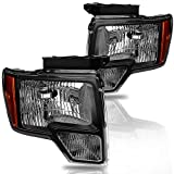 JSBOYATHeadlight Assembly Replacement for 2009-2014 Ford F-150 Pickup Black Housing Clear Lens Headlamp with Amber Reflector Passenger and Driver Side (Black Housing)