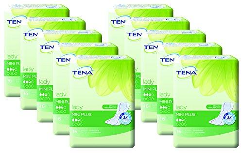 Tena Lady Mini Plus Einlagen für leichte Blasenschwäche / Inkontinenz 10er Pack (10 x 16 Stück)
