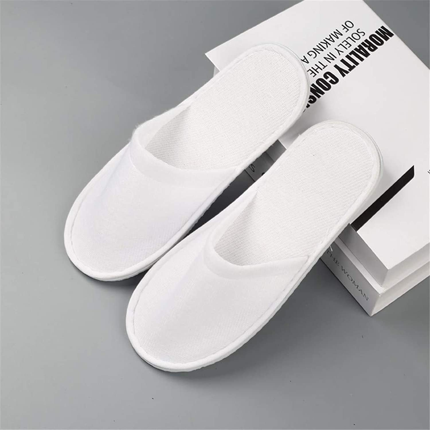 10 Pairs,Spa Slippers 6Mm EVA Sole Clubhouse Beauty Salon Slippers Hospitality Disposable Slippers,White