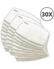 TBOC Filtro Desechable para Mascarilla - [Pack 30 Unidades] Lote de Filtros Intercambiables con 5 Capas de Filtración Material Suave y Transpirable Evita Polvo Sustancias Nocivas Contaminación