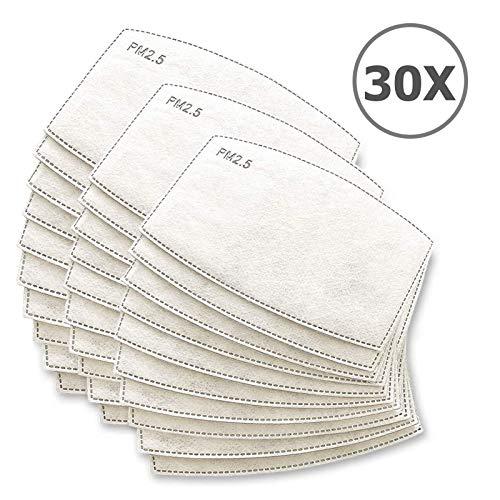 TBOC Filtro Monouso per Mascherina - [Pack 30 Unità] Lotto di Filtri intercambiabili 5 Strati di Filtrazione Sostituibili Materiale Morbido e Traspirante Protezione Polvere Inquinamento Agenti Dannosi