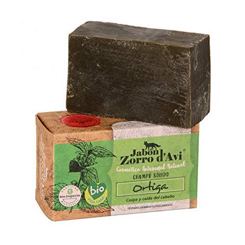 Jabón Zorro D'Avi | Champú Sólido de Ortiga | 120 gr | Cabellos con Caspa | Champú Sólido Zero Waste | Evita la Caída del Cabello | Fabricado en España | Testado Dermatológicamente