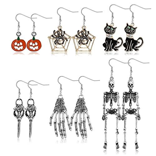 JeweBella 6 Pares Pendientes Halloween para Mujer Niña Pendientes Góticos Calabaza Esqueleto Cráneo Cabeza Araña Gato Negro Conjuntos Pendientes para Halloween Cosplay