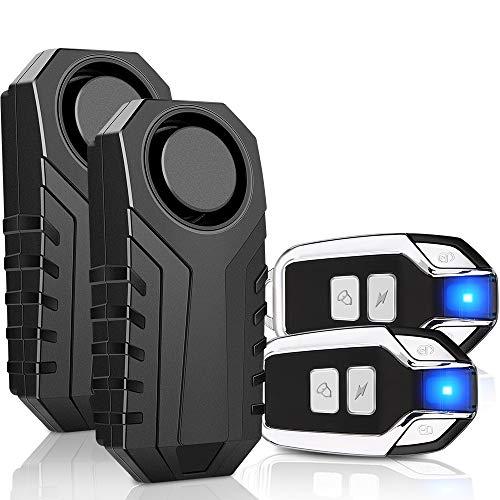 Onvian 2-Pack Upgraded Wireless Anti-Theft Motorcycle Bike Alarm Waterproof Bicycle Security Alarm Vibration Sensor - 113dB Loud