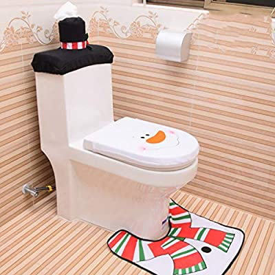 Snowman Santa Elf Toilet Seat Cover Tissue Box Cover Tank Lid Cover and Rug Set,3 Piece Merry Christmas Decorations Fancy Bathroom Plush Felt,Funny Christmas Decorations for Bathroom (White Tone)