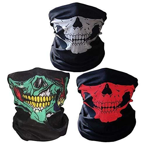 3 stks Winddicht Stretchable Skull Gezicht Masker Ademende Naadloze Nek Warmer Buisvormige Half Gezicht Cover voor Motorfietsen Rijden Klimmen Snowboard Winter Sport Outdoor Activiteiten
