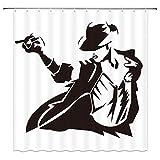 NJMRZX Michael Jackson Duschvorhang Musik & Tanzstern schwarz weiß Dekor Stoff Badezimmer Gardinen Wasserdicht Polyester mit Haken 183 x 183 cm
