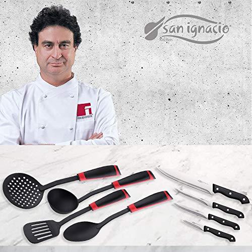 San Ignacio PK1626 Total Pack Utensilios Espumadera, rasera, Cuchara y cazo-y Juego de 4 Cuchillos de Cocina-colección Toledo, Acero Inoxidable