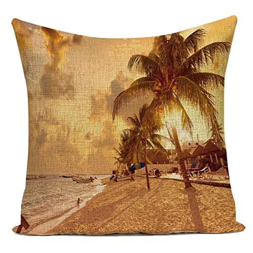 Fundas de Cojín Funda de Almohada Decorativa para la Playa Junto al mar árbol de Coco escénico Lino algodón sofá decoración del hogar Funda de cojín para la decoración de la Sala de Estar