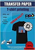 PPD Inkjet - A3 x 10 Hojas de Papel de Transferencia Térmica para Camisetas y Tejidos Oscuros - Fácil de Usar - Para Impresión de Inyección de Tinta - PPD-107-10