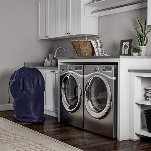 Saco de roupa resistente - Forro jumbo de nylon resistente a rasgos com cordão para dormitórios, apartamentos, armazenamento ou viagem da Trademark Home (azul marinho)