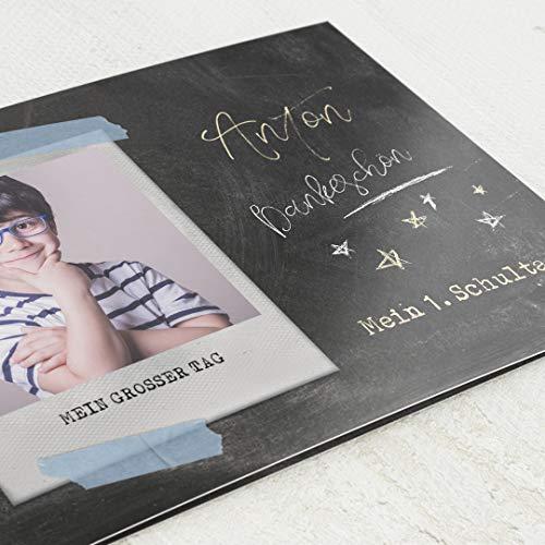 sendmoments Danksagungskarten Einschulung, Sternchen, 5er Klappkarten-Set C6 Querformat, personalisiert mit Wunschtext & persönlichen Bildern, optional mit passenden Design-Umschlägen