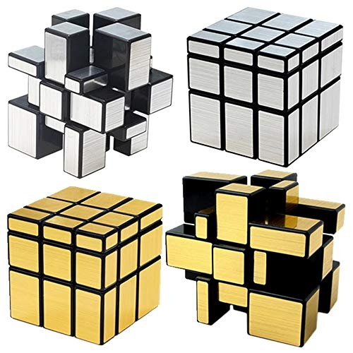 Nuevo QIYI Mirror Magic Cube 3x3x3 Magic Speed ​​Cube Silver Gold Stickers Professional Puzzle Cubos Juguetes Bloques de Espejos