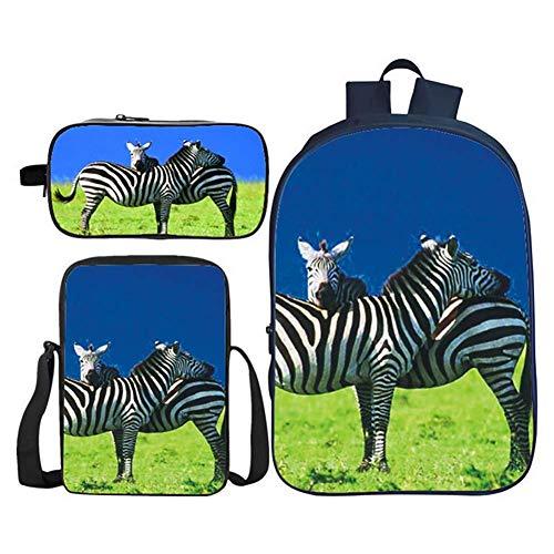 PPWYY 3 stuks kinderboekentas 3D zebradruk meisjes teenschooltassen schoolrugzak lunch kits/schrijfmapje