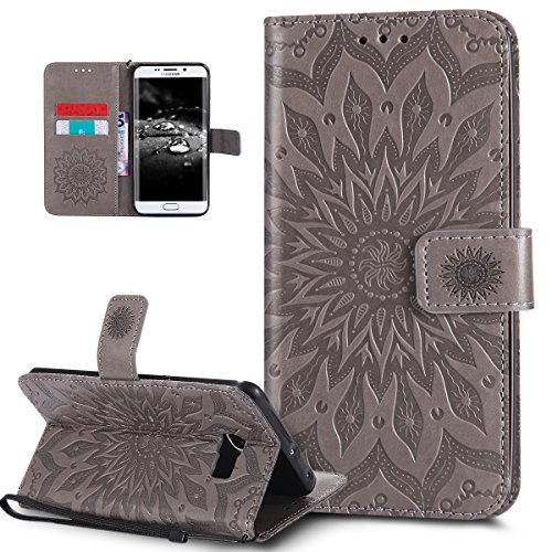 Ikasus® - Carcasa de piel sintética, con tapa, tarjetero, cierre magnético, compartimento y función atril para Samsung Galaxy S6 Edge Plus, con diseño de girasol, carcasa de silicona TPU flexible, gri