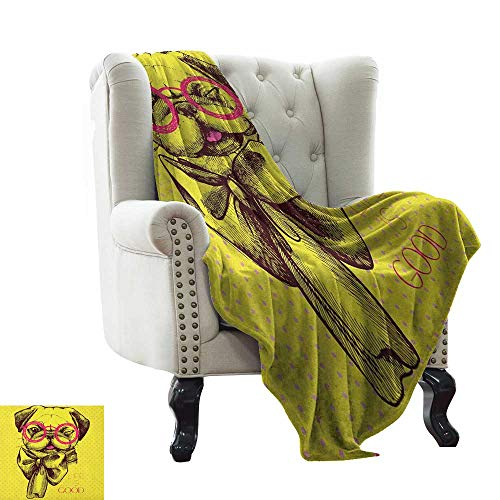 Bed Blanket Pug,an Intellectual Dog with Glasses and a Wink Life is Good Inscribed on The Background, Yellow Pink All Season Light Weight Living Room/Bedroom 35'x60'