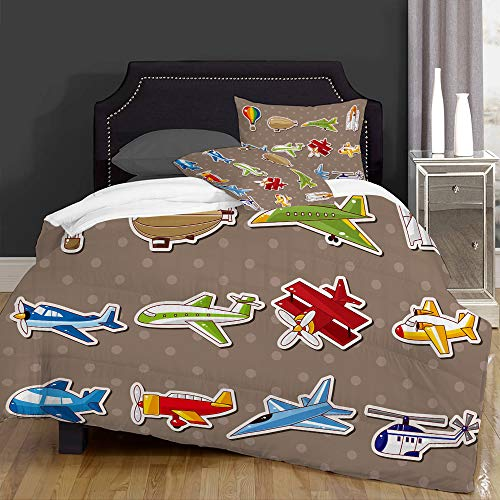 Piumone-la Biancheria da Letto,Aircrafts with Cartoon Style Jet Airliner Zeppelin Regular Plane And Hot Air Balloon,Microfibre, Piumino 1 Trapunta 140×200CM e 2 federe 50×80CM