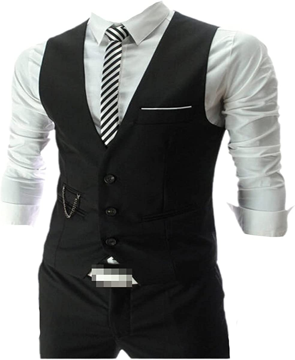 Men's Dress Vest Slim Fit Suit Vest Casual Sleeveless Formal Business Jacket