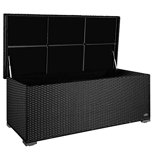 PREMIUM \'Sienna\' 650l Polyrattan Garten Kissenbox wetterfest (regnet nicht rein) 155 x 73 x 60 cm, Auflagenbox mit verstärktem Deckel und Gasdruckfedern, als Sitztruhe oder Tischplatte, Schwarz