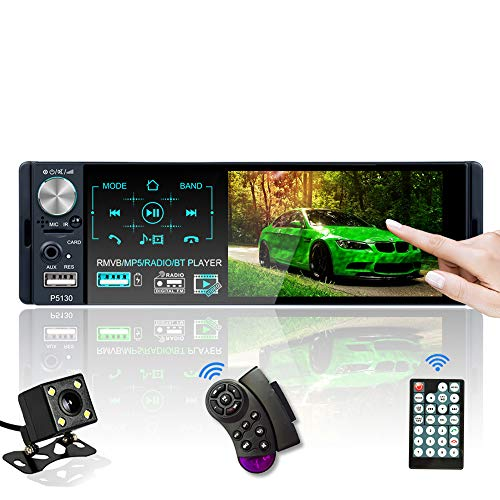 Car Stereo Bluetooth, 7 Color 4.1 Inch Single Din Car Radio with Backup Camera Support Touchscreen 2 USB/TF/AUX/AM/FM/RDS, Steering Wheel Control Remote Control