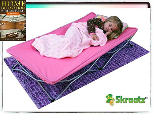 Skrootz Portable Toddler Bed Cot Travel Kids Camping Folding New Baby Child Regalo Pink New Guarantee It Comes Only with Skroutz Unique Ebook