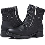 STQ Womens Round Toe Military Lace up Knit Ankle Cuff Low Heel Combat Boots Black 5.5