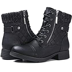 cheap STQ Military Military Ankle Boots for Women Comfortable Outdoor Waterproof Zipper Ankle Boots Black Ankle Boots 10