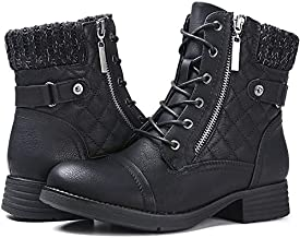 STQ Womens Military Zip Winter Fashion Combat Ankle Boot, Black 7.5