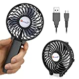 VersionTECH. Hand Held Fan,Portable Handheld USB Rechargeable Fans with 3 Speeds,Battery Operated Electric