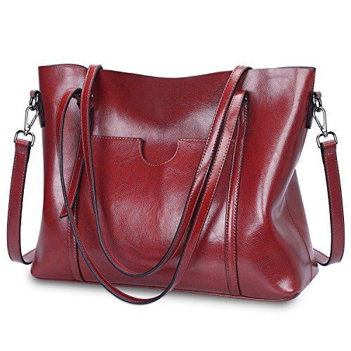 S-ZONE Women's Vintage 3-Way Genuine Leather Tote Shoulder Bag Handbag Fashion Handbag Messenger Bag (Wine red)(Size:L)