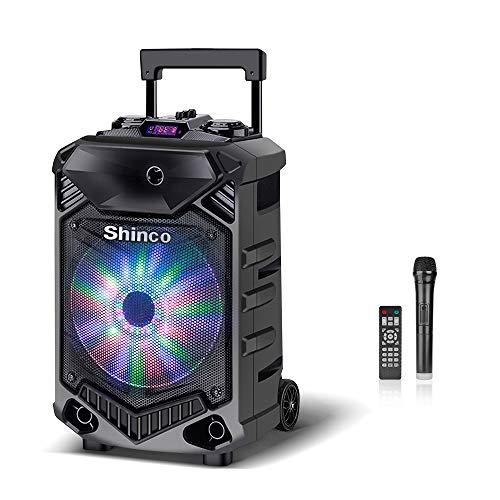 Shinco Bluetooth Karaoke Speaker, 12-inch Subwoofer PA System, Portable Karaoke Machine with Wireless Microphone, Flashing Party Light
