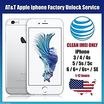 AT&T USA Factory Unlocking Service for All iPhone 6S 6S+ 6+ 6 5 5S 5C 4 4S Clean and Out of Contract IMEI only accepted Your device will be unlocked permanently and will operate on any GSM network worldwide Fast Processing Time 1-48 hours.