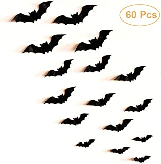 Atomcool Halloween Decorations Bat Wall Decals, Mixed 80 PCS 3D Bat Halloween Wall Stickers, Removable Decorative Scary Wall Sticker Horror Wall Decal for Home Window Decor Party Supplies