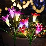 CCJK Solar Flower Lights,Solar Garden Stake Lights Outdoor with 8 Lily...