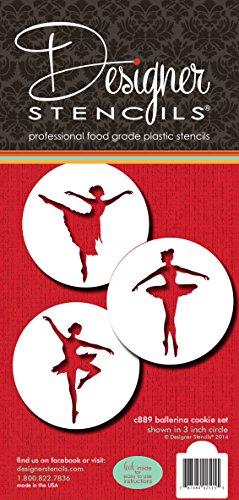 Designer Stencils Ballerina Cookie Stencil Set, Beige/Semi-Transparent, fits 3 inch circle