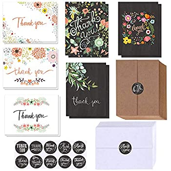 150 Sets Bulk Blank Thank You Cards with Envelopes Stickers Assortment 6 Design of Floral Watercolor Calligraphy Thank You Greeting Cards Note Cards for Wedding Bridal Baby Shower Thanksgiving Party