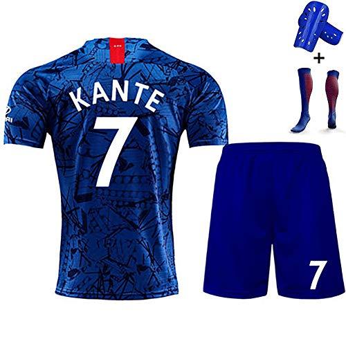 Herren TrikotSommeruniform,Hazard Kante Morata, T-Shirt Trikot, 19-20 Heim und Auswärts,Socken, anpassbar-blue7-L