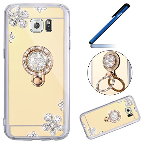 Ysimee Coque Galaxy Note 5, Miroir Silicone Étui Strass Glitter Fleur Brillante Housse de Protection avec Anneau Support Luxe Couleur Plaquée Ultra Mi