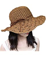 Xixihaha Summer Beach Sun Hats for Women Girls Foldable Floppy Summer Straw Hat Wide Brim Hat UV Protection (Khaki)
