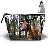 Bolsa de maquillaje portátil para mujer, diseño de ciervos