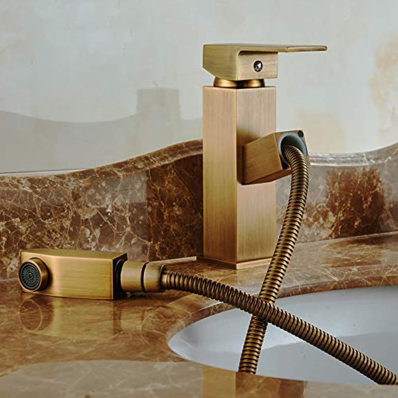 DFRQJHQGH Antike Messing Waschbecken Wasserhahn Einhebelmischer 360 Grad Auslauf Ziehen Becken Wasserhahn