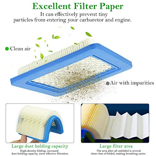 EMAGEREN 5 Pcs Air Filter Mower Replacement Air Filter for Lawn Mower Paper Air Filter Air Cleaner Cartridge Air Filter for Briggs Stratton 491588S 491588 4915885 399959, Push Lawn Mower & Tractor