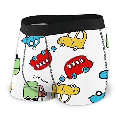 Calzoncillos tipo bóxer para hombre, calzoncillos ajustados de dibujos animados para coche, ropa interior de secado rápido