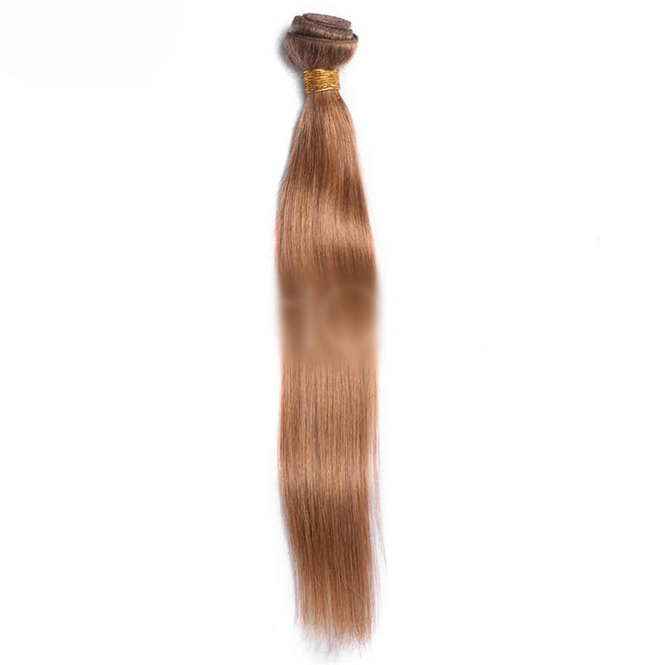 アドバイスシャンプー終了しましたBOBIDYEE オンブルバージンヘアストレートレミー人間の毛髪延長横糸 - 27#茶色の髪の束(1バンドル)合成髪レースかつらロールプレイングかつら長くて短い女性自然 (色 : ブラウン, サイズ : 16 inch)