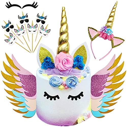 HautHome Unicornio decoración Tarta, 48 Piezas Cupcake Topper Doble Sided, Decorativo Que Incluye Cuerno Orejas y pesta?as de Unicornio,Decoraciones para Fiesta de cumpleaños, Baby Shower,bodas