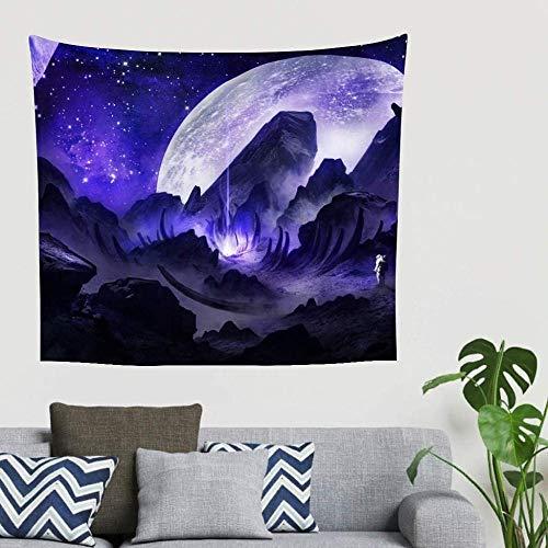BOIPEEI Fantasy Astronaut Purple Beam Planet Print Tapiz para Colgar en la Pared Manta de Pared Toallas de Playa Vintage Blanco 150cm X 200 Cm