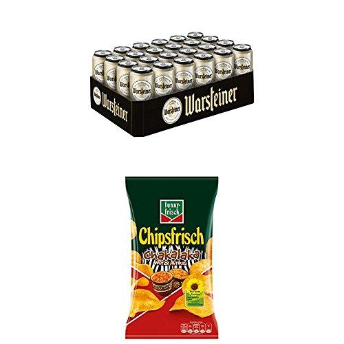 Warsteiner Premium Pilsener 24 x 0,5 Liter Dosenbier mit funny-frisch Chipsfrisch Chakalaka, 10er Pack (10 x 175 g)