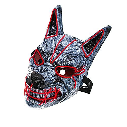 Locopeas Mascaras de Terror LED Halloween Máscaras de Lobo para Fiesta de Disfraces para Adultos (Batería no incluido) (Rojo)