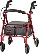 """NOVA GetGo Petite Rollator Walker (Petite & Narrow Size), Rolling Walker for Height 4'10"""" - 5""""4"""", Seat Height is 18.5"""", Ultra Lightweight - Only 13 lbs with More Narrow Frame, Color Red"""