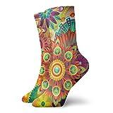 LLeaf Psychedelic Trippy Mandala Flower Dress Calcetines Calcetines divertidos Calcetines locos Calcetines casuales para ni?as y ni?os